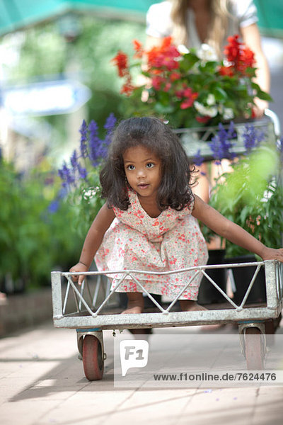 Mädchen reiten im Wagen in der Baumschule