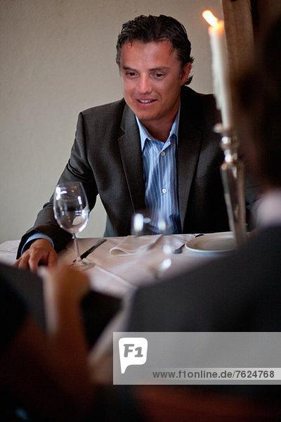 Businessman having lunch in restaurant