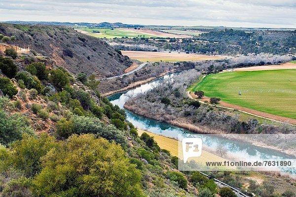 Spazierstock Stock Fluss Guadalajara Spanien