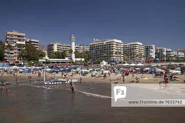 Europa Strand Gebäude Küste Hotel Apartment Ansicht Andalusien Marbella Spanien