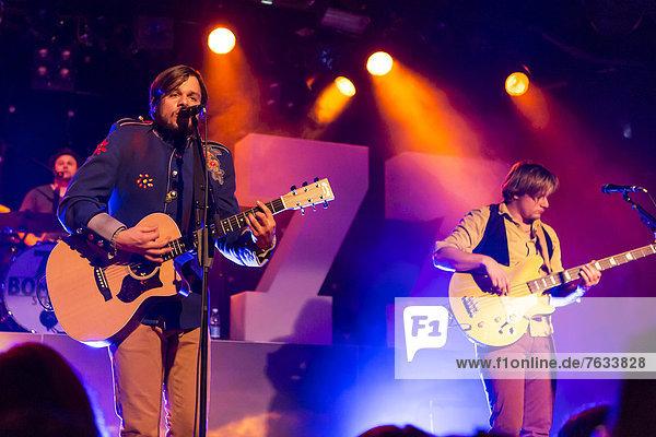 Singer and frontman Matt Buchli of the Swiss band 77 Bombay Street  performing live at the Schueuer  Lucerne  Switzerland  Europe