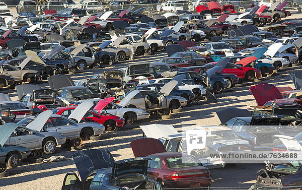 Junk cars at a scrap yard  Alexandria  Louisiana  USA