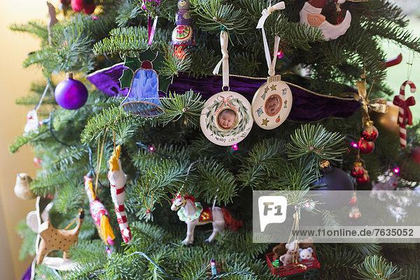 Ornamente auf Weihnachtsbaum