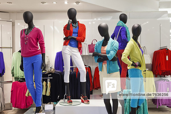 England  London  Oxford Street  Marks and Spencers Department Store  Womens Clothing Display