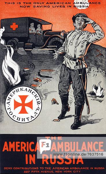 Vereinigte Staaten von Amerika  USA  Europa  Werbung  Militär  Soldat  Poster  Krieg  amerikanisch  Krankenwagen  Heer  Russland  russisch