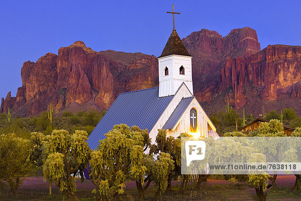USA  United States  America  Arizona  American  Southwest  Superstition Mountains  Lost Dutchman  State Park  park  Apache Junction  church  white  building  mountains  trees  desert  landscape  nature  outdoors  scenic  scenery  nobody  wild  wilderness  twilight  sunset
