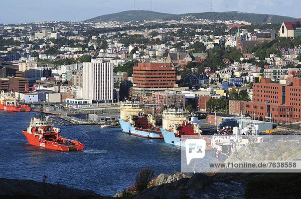 St. John's Harbor  Signal Hill  St. John's  Newfoundland  Canada  harbour  city  boats