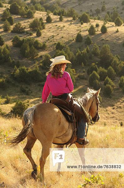 Vereinigte Staaten von Amerika  USA  Frau  Sport  Amerika  reiten - Pferd  Mädchen  Cowgirl  Oregon  Ranch