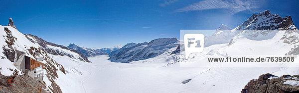 Panorama Europa Berg Urlaub Eis Aletschgletscher Moräne Bern Berner Oberland Schweiz Tourismus
