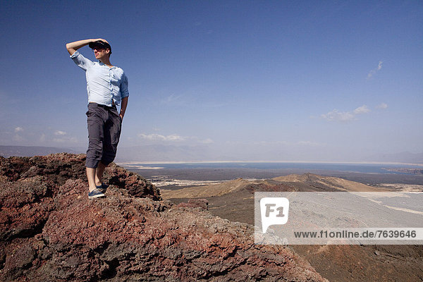 Volcano  Ardoukoba  Assal  Africa  mountain  mountains  scenery  landscape  lake  man  view  Djibouti  tourism