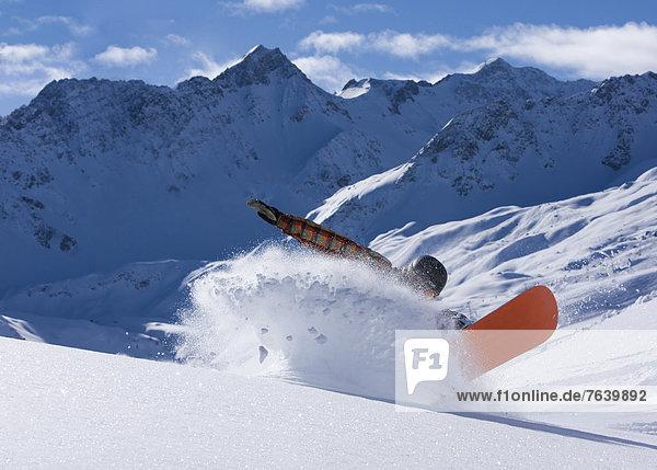 Berg Winter Mann Snowboard Snowboarding Kanton Graubünden Wintersport