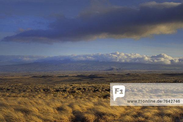 USA  United States  America  Hawaii  Big Island  Mountain  Clouds  Sky  grassland  mountains