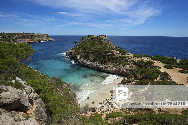 Außenaufnahme  Europa  Tag  Strand  Küste  niemand  Meer  Mallorca  Sandstrand  Balearen  Balearische Inseln  Spanien