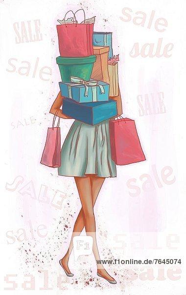 Geschenk  Frau  tragen  Illustration  Konzept  beladen