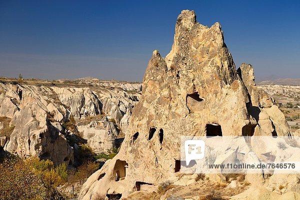 Frauenkloster offen Tal Museum Himmel Ansicht Kappadokien Kloster Türkei