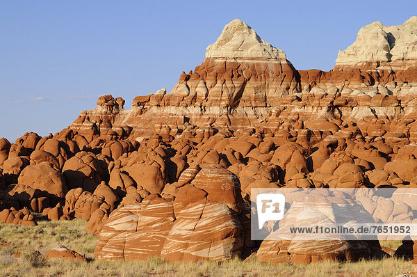 Colourful hoodoos  rock pillars  sandstone formations