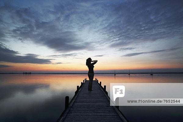 stehend Frau Wolke Abend Bewunderung Himmel See