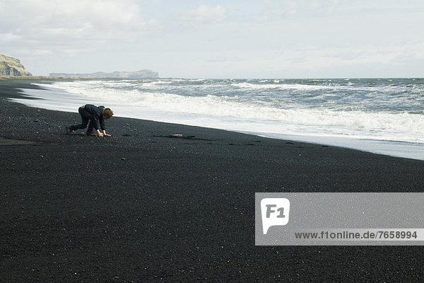 Junge,  der den schwarzen Sandstrand aufliest,  Island