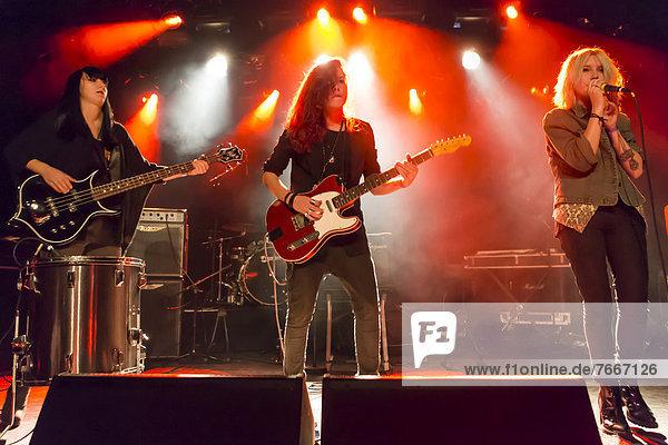 Swiss women's rock band Velvet Two Stripes performing live in the Schueuer concert hall  Luzern  Switzerland  Europe