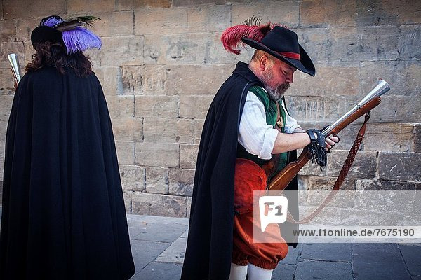 `Trabucaires´ men armed with blunderbuss at Bisbe street during La Merce Festival Barcelona Catalonia Spain