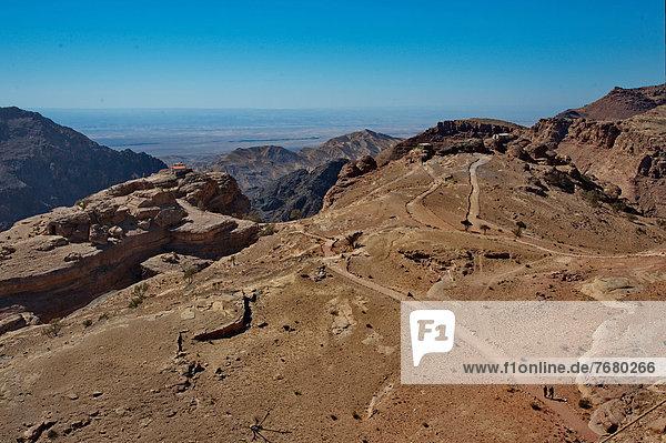 Jordan  Petra archeological site  the cliff toward west