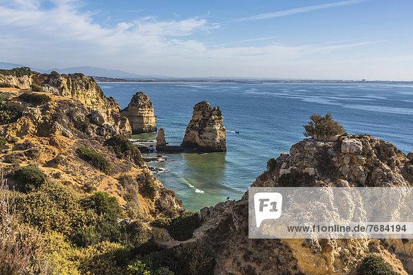 Aussicht von Ponta da Piedade auf Praia do Camilo  Küstenlandschaft