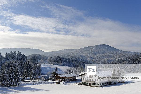 nahe Europa Winter Tal Bayern Deutschland Oberbayern