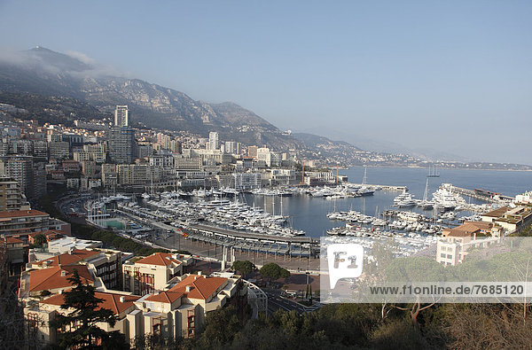 View from above over the harbour  Monte Carlo  Principality of Monaco  Cote d'Azur  Mediterranean Sea  Europe