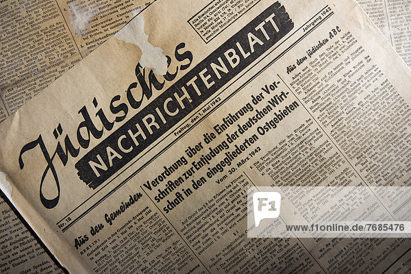 '''Juedisches Nachrichtenblatt''  Jewish newspaper  historical newspaper  edition from 1 May 1944  Germany'