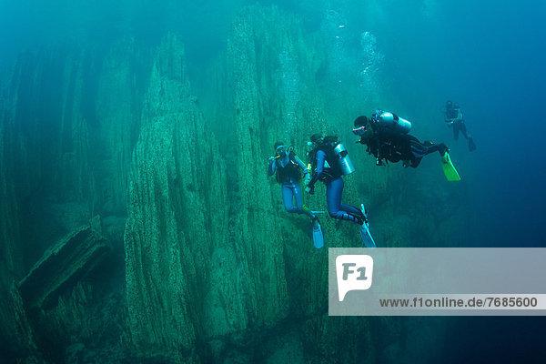 Scuba divers in Barracuda Lake