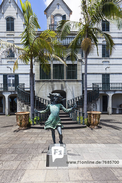 'Statue  ''Skipping Girl''  Jardim Botânico da Madeira or Botanical Garden  on the grounds of the farm of the Reid hotelier family  Jose Bernardo foundation'