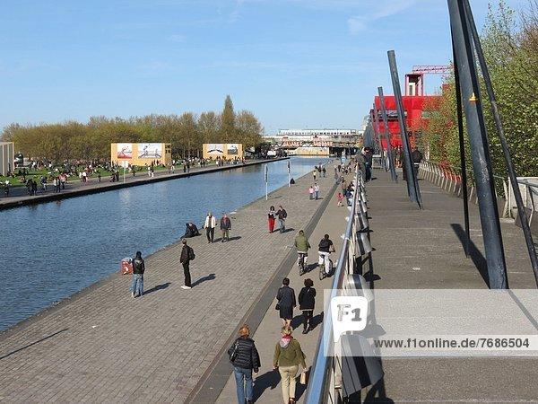 France  Paris  Mill  Parc de la Villette and Ourq canal