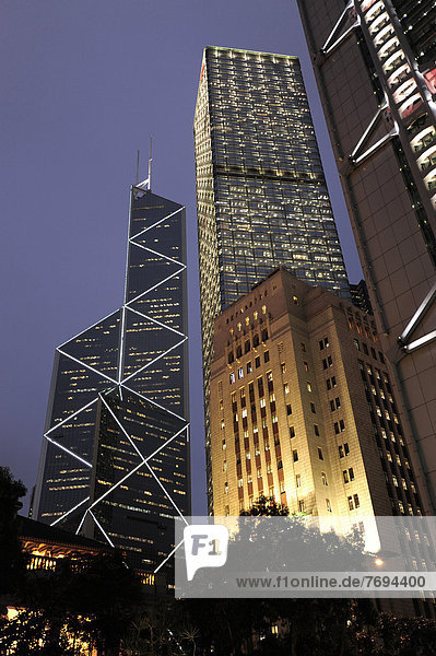 China  Hongkong  Bank of China Tower und Old Bank of China Gebäude unter anderem in Chung Wan