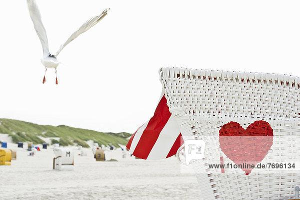 Strandkorb mit rotem Herz am Strand und Möwe im Flug