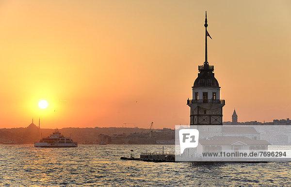 Kiz Kulesi  Maiden's Tower or Leander's Tower  in the Bosphorus at sunset  from Üsküdar