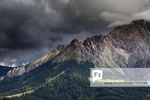 Bergwiese mit Latemar  Gewitterstimmung