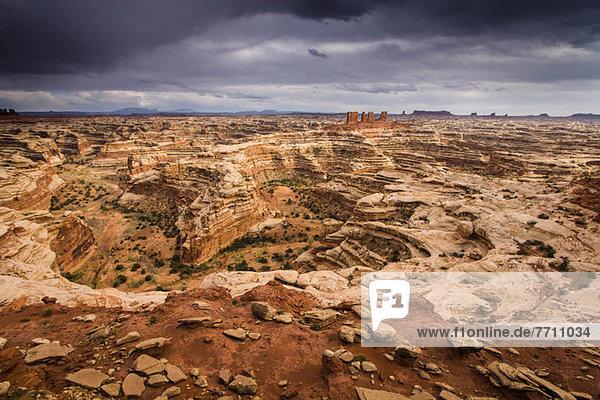 Luftaufnahme der Maze-Felsformationen