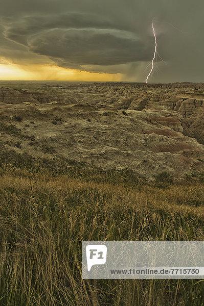Nationalpark  über  Steppe  Blitz