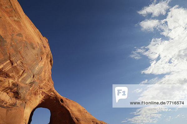 Arched natural rock formation Monument valley arizona usa