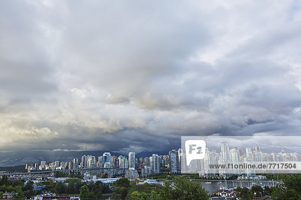 Stormy sky over downtown Vancouver british columbia canada