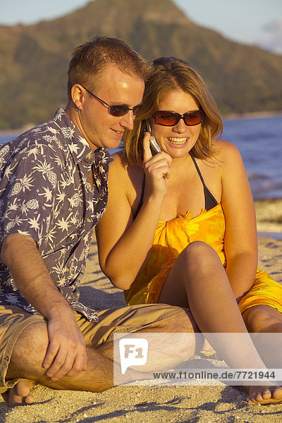 sitzend  Strand  Hintergrund  Diamant  Hawaii  Oahu  Waikiki Beach