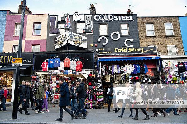 hoch  oben  Anschnitt  London  Hauptstadt  Straße  Wahrzeichen  Laden  Camden  Markt