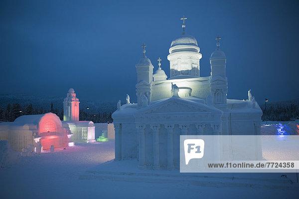 Whitewashed Church At The Icium Wonderworld Of Ice Sculpture Park  Levi  Lapland  Finland