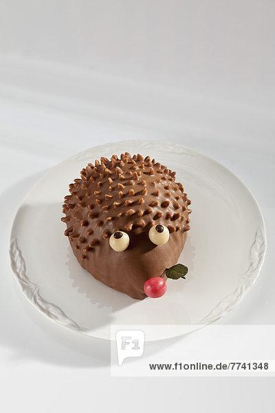 Teller Schokoladenkuchen in Form eines Igels auf weißem Grund  Nahaufnahme