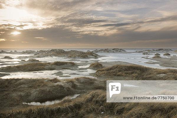 Starke Westwinde treiben das Nordseewasser in die Dünen