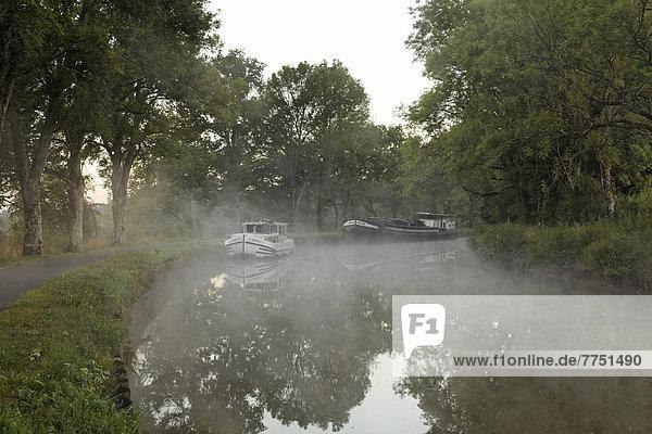 Hausboot auf dem Canal des Vosges  früher Canal de l?Est  bei PK 88  Scheitelhaltung des Kanals  Morgenstimmung mit Morgennebel