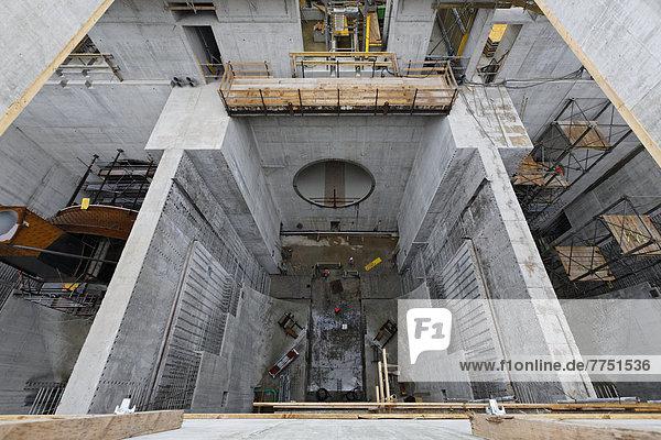 Baustelle Neues Wasserkraftwerk Rheinfelden  Sicht von oben in Turbinenkammer 3