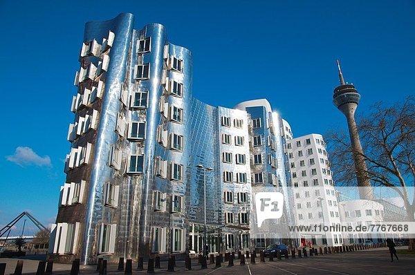 Hafen Europa Gebäude Großstadt Turm Zimmer Düsseldorf Deutschland Medien Rheinturm