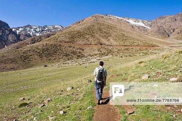 Trekking tour guide walking at Oukaimeden ski resort in summer  High Atlas Mountains  Morocco  North Africa  Africa