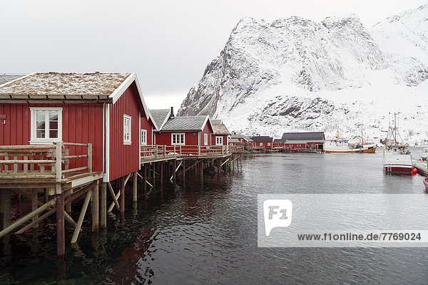Fishing village with red cottages beside a fjord in winter